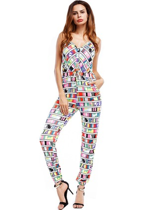 Polyester Geometric Sleeveless Backless Jumpsuits & Rompers