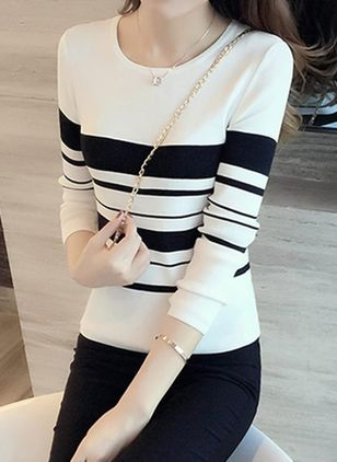 Stripe Round Neck Long Sleeve Elegant T-shirts