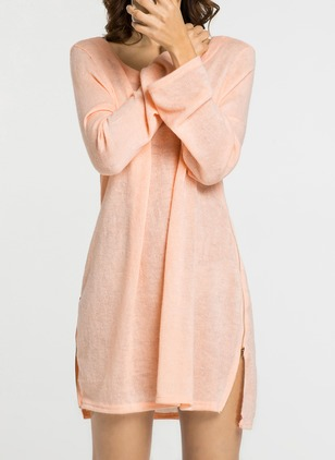 Cotton Solid Long Sleeve Above Knee Shift Dress