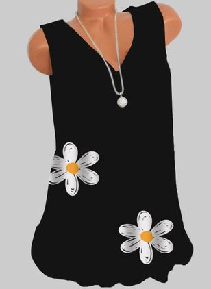 Floral V-Neckline Sleeveless Casual T-shirts (146964127)