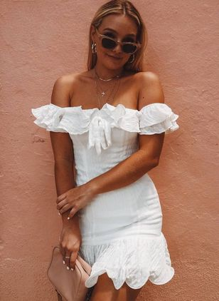 Solid Ruffles Pencil Off the Shoulder Bodycon Dress