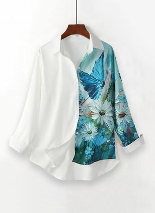 Floral Casual Collar Long Sleeve Blouses (146957976)