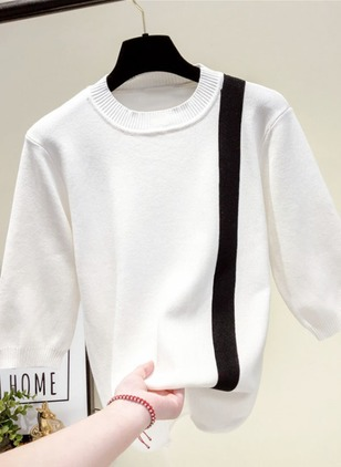 Round Neckline Color Block Regular None Sweaters