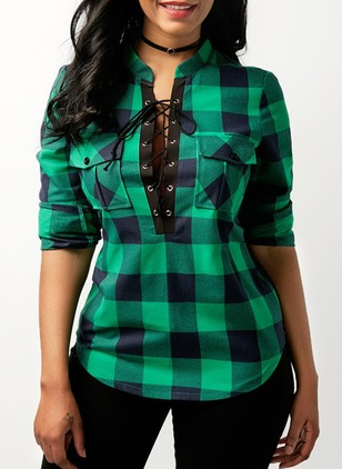Tartan Casual Polyester Collar 3/4 Sleeves Blouses