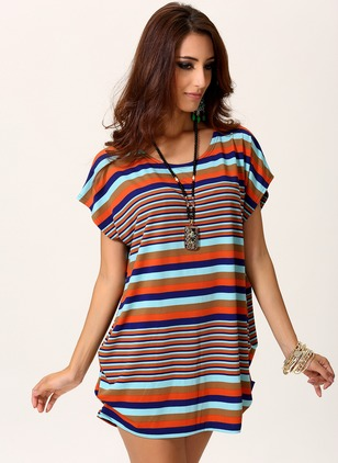 Polyester Stripe Round Neck Short Sleeve Casual T-shirts