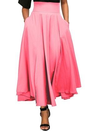 Polyester Solid Maxi Casual Pockets Skirts
