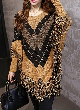 Round Neckline Geometric Asymmetrical Tassel Ruffles Others Sweaters
