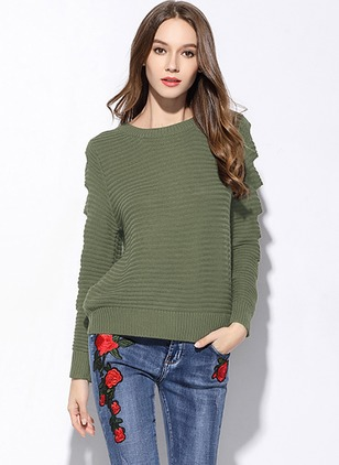 Acrylic Round Neckline Solid Loose Hollow Out Sweaters