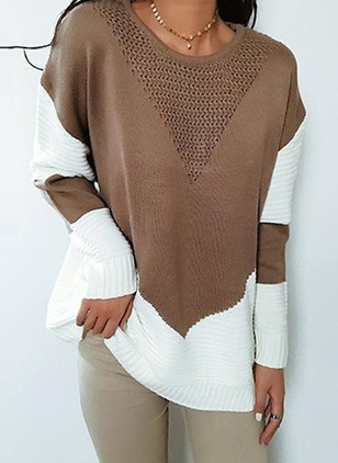 Round Neckline Color Block Loose Regular Sweaters