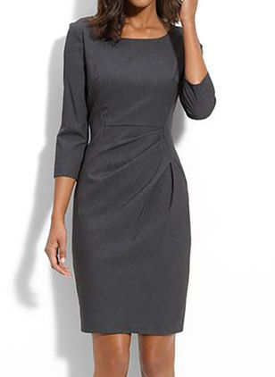 Elegant Solid Pencil Round Neckline Bodycon Dress (4864737)