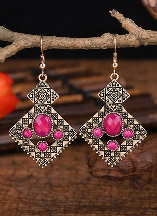 Casual Geometric Gemstone Dangle Earrings (147243502)