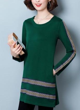 Cotton Solid Pockets Long Sleeve Shift Dress