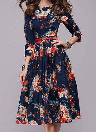 Vintage Floral Round Neckline Knee-Length X-line Dress (122030796)