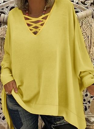 Plus Size Solid Casual V-Neckline Long Sleeve Blouses (4864425)