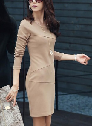 Solid Long Sleeve Above Knee Sheath Dress