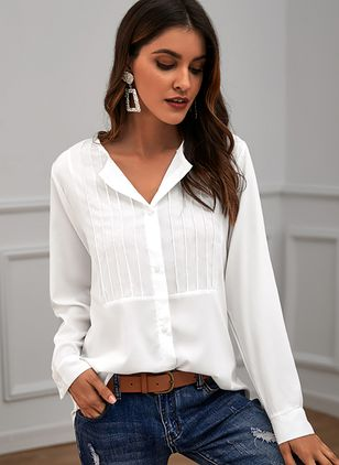 Solid Casual V-Neckline Long Sleeve Blouses (122029158)