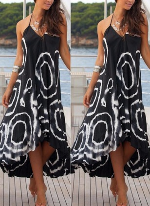Geometric Ruffles Slip Maxi A-line Dress