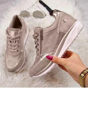 Women's Lace-up Round Toe Nubuck Flat Heel Sneakers