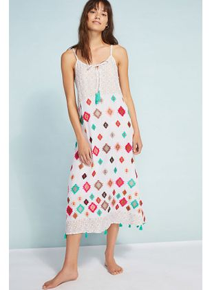 Color Block Tassel Slip Midi Shift Dress