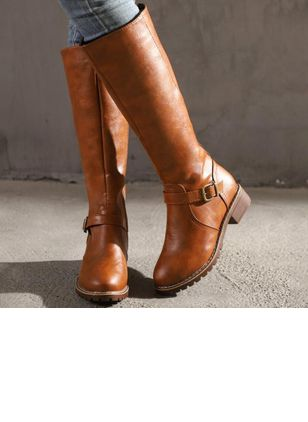 Women's Buckle Knee High Boots Low Heel Boots