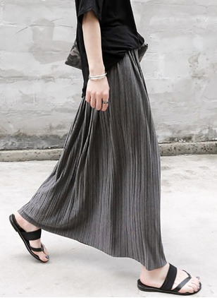 Acrylic Solid Maxi Vintage Skirts