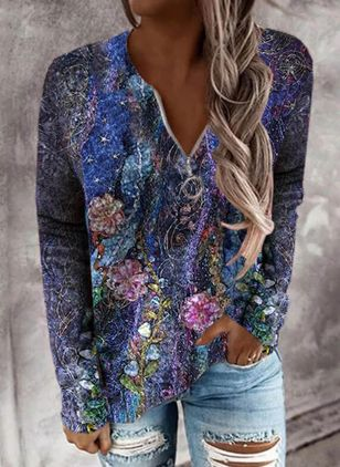 V-Neckline Floral Spring Regular Zipper Sweaters (146863022)