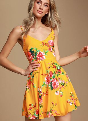 Floral Slip Camisole Neckline Above Knee X-line Dress