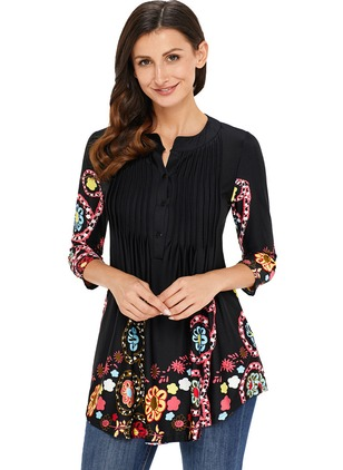 Floral Cute Others 3/4 Sleeves Blouses