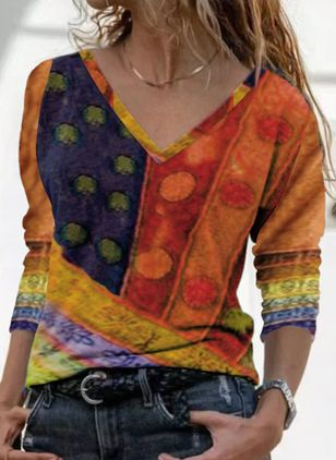 Floral V-Neckline Long Sleeve Casual T-shirts (146833715)