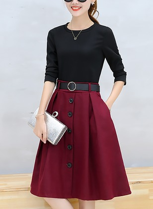 Color Block Buttons 3/4 Sleeves Knee-Length A-line Dress