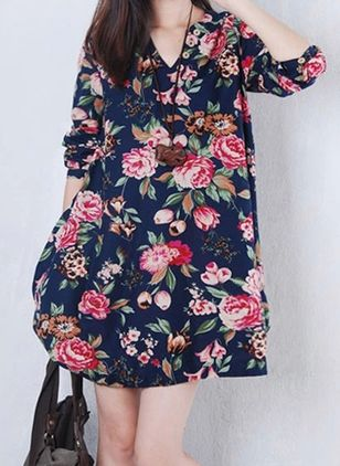 Floral Long Sleeve Above Knee A-line Dress