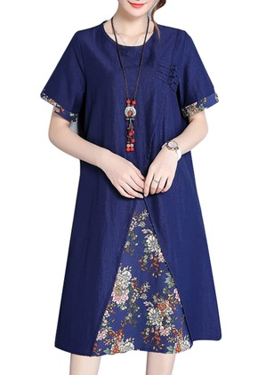 Cotton Floral Short Sleeve Knee-Length A-line Dress