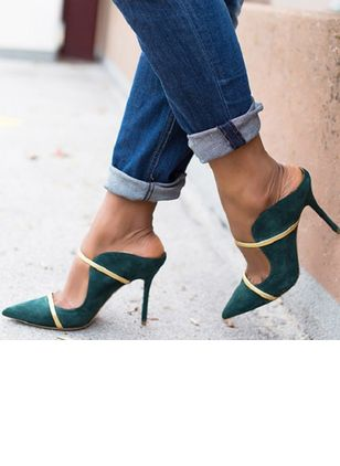 Women's Hollow-out Closed Toe Spool Heel Pumps