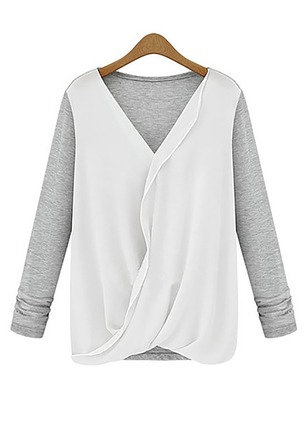 Color Block Casual Polyester V-Neckline Long Sleeve Blouses