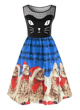 Animal Ruffles Sleeveless Midi X-line Dress