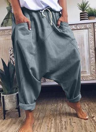 Casual Loose Pockets Low Waist Cotton Pants (4135433)
