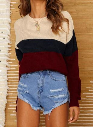 Round Neckline Color Block Casual Loose Regular Shift Sweaters (107561612)