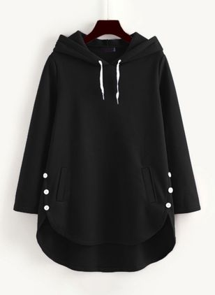 Solid Basic Hooded Pockets Buttons Sweatshirts (107562674)