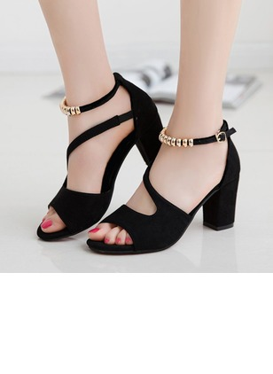 Ankle Strap Peep Toe Chunky Heel Shoes
