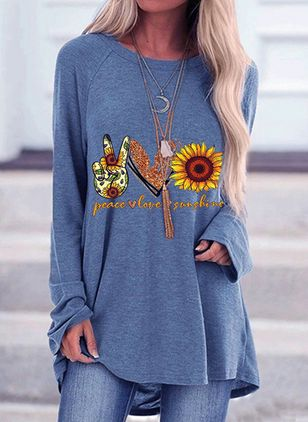 Floral Round Neck Long Sleeve Casual T-shirts (5715792)