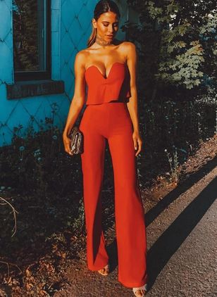 Solid Sleeveless Backless Jumpsuits & Rompers