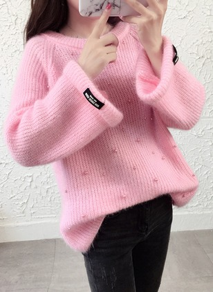 Round Neckline Solid Loose Beading Sweaters