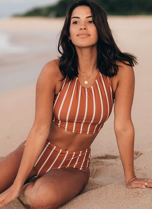 Stripe Tankinis Swimwear