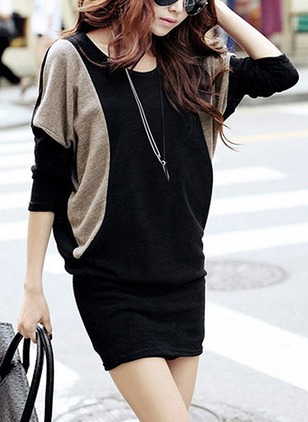 Cotton Color Block Long Sleeve Above Knee Dresses