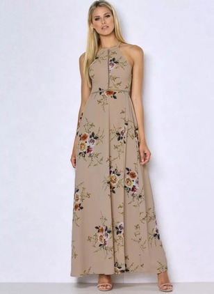 Floral Ruffles Sleeveless Maxi A-line Dress