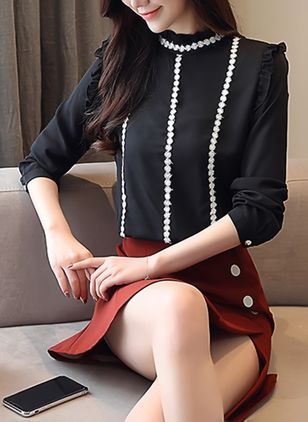 Color Block Elegant High Neckline Long Sleeve Blouses