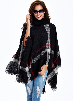 Acrylic Long Sleeve Funnel Neck Tassel Capes