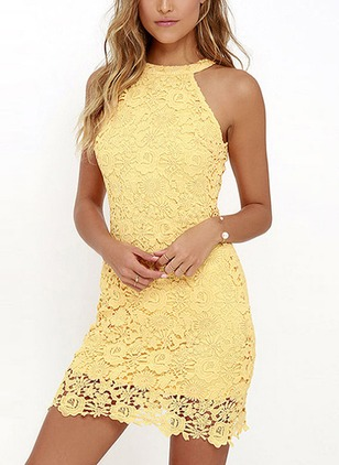Solid Lace Halter Neckline Sleeveless Sheath Dress