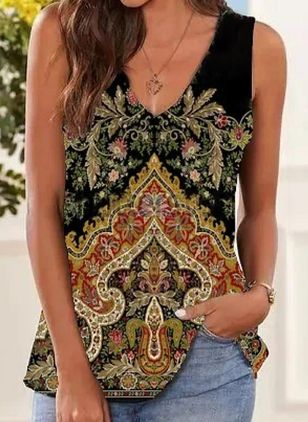 Floral V-Neckline Sleeveless Casual T-shirts (147209971)