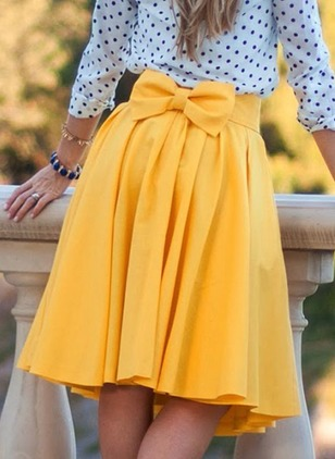 Polyester Solid Above Knee Cute Bow Skirts